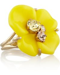 Nina Ricci Goldtone Resin and Crystal Ring - Yellow