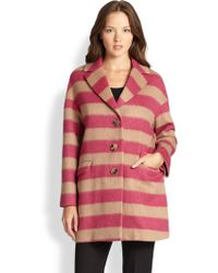 RED Valentino Striped Coat - Lyst