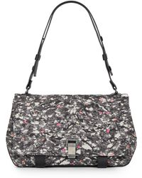 Proenza Schouler Marble-Print Ps Courier Shoulder Bag gray - Lyst