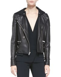 A.L.C. Blake Leather Moto Jacket Wremovable Hood - Lyst