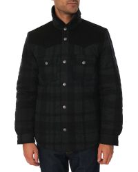 Levi's Black And Grey Checked Wool Padded Jacket With Poppers - Lyst