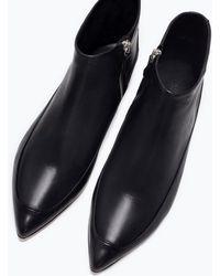 Zara Flat Leather Booties - Lyst