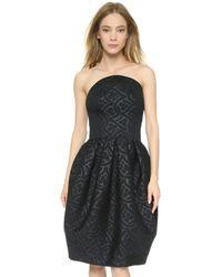 Zac Posen | Embossed Bonded Dress - Black | Lyst