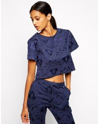 TFNC Boxy Top In Jacquard blue - Lyst