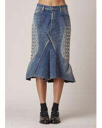 Junya Watanabe | Indigo Studded Denim Skirt | Lyst