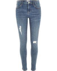 River Island Mid Wash Distressed Amelie Superskinny Jeans - Lyst