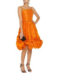 Oscar de la Renta Ruffled Silk-satin Dress - Lyst