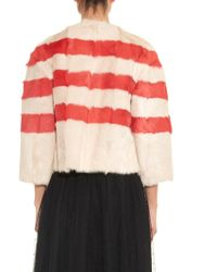RED Valentino Striped Fur Jacket - Red