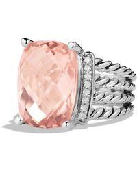 David Yurman Wheaton Ring With Morganite And Diamonds - Metallic