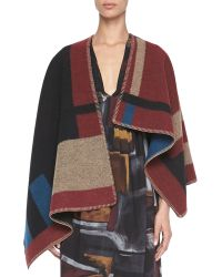 Burberry Prorsum Check Blanket Poncho - Lyst