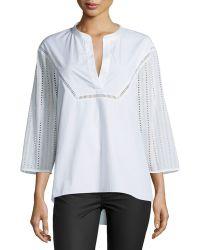 Thakoon Eyelet-sleeve Cotton Tunic - White