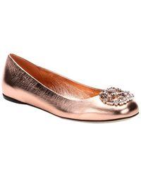 Gucci Metallic Rose Gold Crystal Gg Logo Ballet Flats - Lyst