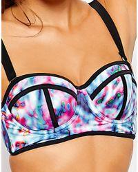 Asos Fuller Bust Watercolour Contrast Longline Bikini Top Dd-G - Lyst