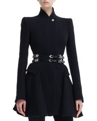 Alexander McQueen High-collar Flared Coat black - Lyst