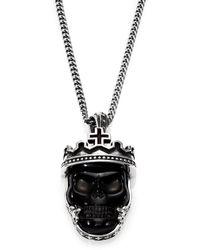 King Baby Studio Black Agate  Sterling Silver Skull Pendant Necklace - Lyst