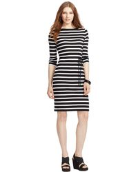 Lauren by Ralph Lauren Striped Boat-Neck Dress - Lyst