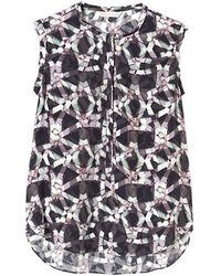Rebecca Taylor Sleeveless Geo Print Henley Blouse Charcoal - Lyst