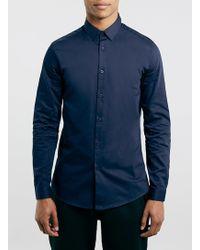 Topman Navy Long Sleeve Premium Smart Shirt - Lyst