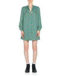 Saint Laurent | Mini Floral-print Tie-neck Dress | Lyst
