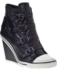 Ash Thelma Wedge Sneaker Black/Black Leather - Lyst