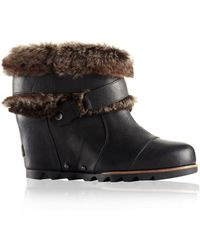 Sorel Joan Of Arctic Leather Wedge Ankle Boots - Lyst