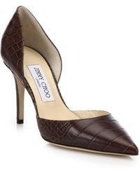 Jimmy Choo | Addison Crocodile-embossed Leather D'orsay Pumps | Lyst
