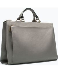 Zara Office City Bag with Pocket - Lyst