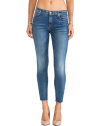 7 For All Mankind Ankle Skinny with Raw Hem - Lyst