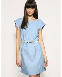 Gap | Rope Belted Chambray Linen Mix Dress | Lyst