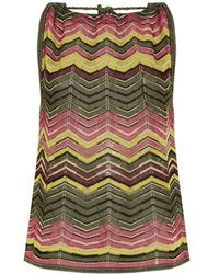 M Missoni Chevron Knit Rope Neck Top - Lyst