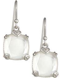 Judith Ripka - Rock Crystal Quartz Cushion Earrings - Lyst