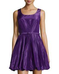 Oscar de la Renta Pleated Fit-And-Flare Bubble Dress - Lyst
