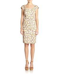 Peserico Floral Cap-Sleeve Dress - Lyst