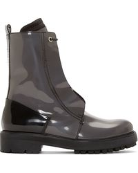 Costume National Grey Patent Leather Hilton Combat Boots - Lyst
