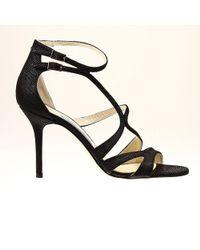 Jimmy Choo Fenzy 8Heel Leather Glitter Sandal Shoes - Lyst