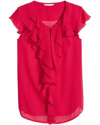 H&M Red Frilled Blouse - Lyst