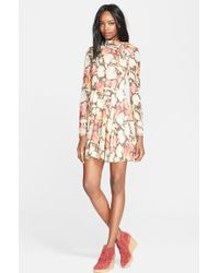 RED Valentino Vintage Floral Print Stretch Silk Dress gray - Lyst