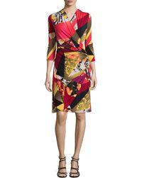 Natori Printed Wrap 3/4-Sleeve Dress - Lyst