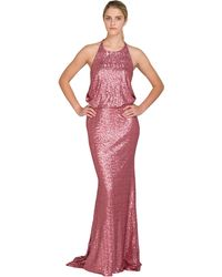 Badgley Mischka Drape Back Sequin Gown - Lyst
