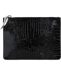 Giuseppe Zanotti Croc Embossed Patent Leather Pouch - Black