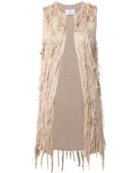Allude Fringed Long Vest - Lyst