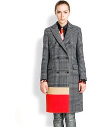 MSGM Colorblock-Paneled Checked Double-Breasted Coat - Lyst