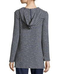 Max Studio Hooded Striped Cotton Pullover - Blue