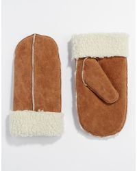 Pieces Suede Mittens - Brown