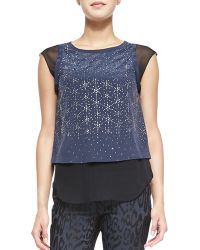 Rebecca Taylor Geo Shimmer Silk Top - Lyst