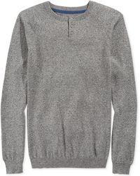 American Rag Solid Henley Sweater - Lyst