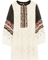 Vineet Bahl Lace, Embroidered Chiffon And Tulle Tunic - White