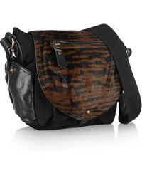 Isabel Marant Utkin Calf Hair, Suede And Leather Shoulder Bag - Lyst