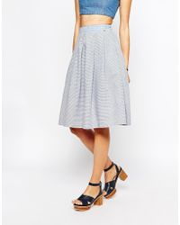 Harlyn - Checked And Striped Midi Skirt - Lyst
