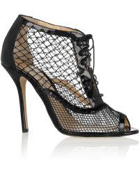 Oscar de la Renta Renata Patentleather and Mesh Ankle Boots - Lyst